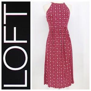 Ann Taylor Loft Red Ivory Halter Midi Dress